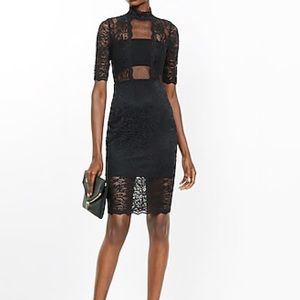 Black lace mid-length dress